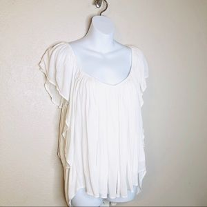 Free People Rayon Flowy Off White Top